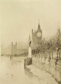 Arthur J. F. Bond; The Thames and Big Ben, London 1920's